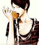 brown_hair eating short_hair simple_background solo striped t-shirt takenaka watermark