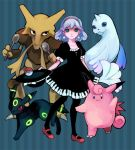 alternate_color blue_eyes blue_hair bow clefable dewgong dress earrings fangs hairband hat hat_bow horn jewelry neon_trim nintendo pantyhose piano_print pixiv pixiv_trainer poke_ball pokemon revery_(artist) spoon tail umbreon wings yuzawa_risato