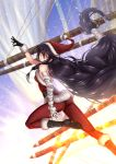 1girl adsouto arm_up artist_name bandage bandaged_arm bandages belt black_hair boots braid breasts day eyebrows_visible_through_hair fur_trim gloves hat highres long_hair looking_at_viewer medium_breasts red_gloves santa_costume santa_hat solo tales_of_(series) tales_of_berseria velvet_crowe very_long_hair yellow_eyes