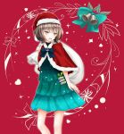 1girl alternate_costume bangs bell blue_ribbon blunt_bangs brown_hair carrying carrying_over_shoulder christmas cowboy_shot dress fur_trim green_dress green_ribbon hat highres holly kantai_collection kishinami_(kantai_collection) red_background remimiku ribbon sack santa_costume santa_hat shiny shiny_clothes short_hair solo wavy_hair yellow_eyes