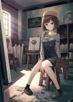 1girl beret black_legwear blue_eyes bookshelf breasts brown_footwear brown_hair bust_(sculpture) closed_mouth collarbone day easel eyebrows_visible_through_hair hat highres holding holding_paintbrush hyuuga_azuri indoors looking_at_viewer medium_breasts newspaper original overalls paint_can paintbrush painting_(object) palette shelf shirt short_hair sitting socks solo striped striped_shirt window