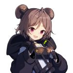 1girl :d bangs black_gloves black_jacket blush braid brown-framed_eyewear brown_hair cleaning_glasses double_bun eyebrows_visible_through_hair girls_frontline gloves hair_between_eyes head_tilt holding holding_eyewear hood hood_down hooded_jacket jacket long_sleeves open_mouth p90_(girls_frontline) partly_fingerless_gloves puffy_long_sleeves puffy_sleeves round_teeth side_braid simple_background smile solo sunglasses teeth tp_(kido_94) upper_body upper_teeth violet_eyes white_background