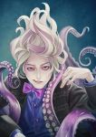 1boy black_jacket blonde_hair blue_background blue_shirt bow bowtie copyright_request fingernails hand_up highres jacket long_sleeves looking_at_viewer male_focus multicolored_hair murasaki_(fioletovyy) parted_lips purple_neckwear shirt solo streaked_hair tentacle yellow_eyes
