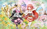 2girls absurdres black_legwear blonde_hair bow castle cherry_blossoms crystal_ball dress drill_hair elbow_gloves elise_(fire_emblem_if) fingerless_gloves fire_emblem fire_emblem_if flower gloves hair_bow hand_holding headdress highres huge_filesize lens_flare lilith_(fire_emblem_if) looking_at_viewer multiple_girls nichika_(nitikapo) nintendo open_mouth pagoda red_eyes redhead sakura_(fire_emblem_if) short_hair smile sparkle staff twin_drills twintails violet_eyes white_legwear