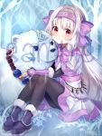 1girl ainu_clothes animal bangs bare_tree bear blush bow brown_legwear closed_mouth eyebrows_visible_through_hair fate/grand_order fate_(series) fingerless_gloves fingernails fur-trimmed_boots fur_trim gloves hair_between_eyes hair_bow hair_tubes hairband head_tilt highres hozumi_rino illyasviel_von_einzbern light_brown_hair long_hair pantyhose pink_bow pink_gloves pink_hairband purple_footwear red_eyes sample shirou_(fate/grand_order) sidelocks sitonai sitting smile tree very_long_hair watermark