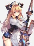 1girl armor bangs blonde_hair blue_eyes blush breasts chains cleavage draph dress gloves granblue_fantasy hat highres holding holding_spear holding_weapon horns large_breasts long_hair looking_at_viewer pointy_ears polearm rastina simple_background solo spear thigh-highs very_long_hair weapon ym_(distance819)