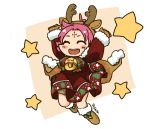1girl antlers arms_up artist_name bell boots brown_gloves cape closed_eyes dress fa facial_mark fire_emblem fire_emblem:_fuuin_no_tsurugi fire_emblem_heroes forehead_mark full_body fur_trim gloves long_sleeves mamkute nintendo open_mouth purple_hair reindeer_antlers short_hair sksk7r solo star