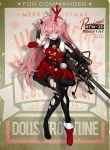 1girl alternate_costume anti-materiel_rifle antlers bag bangs bell black_legwear blush breasts christmas coat commentary_request girls_frontline gun holding long_hair looking_at_viewer ntw-20 ntw-20_(girls_frontline) official_art pantyhose pink_eyes pink_hair ran_(pixiv2957827) red_coat red_footwear reindeer_antlers rifle shoes shoulder_bag single_shoe sniper_rifle solo torn_clothes torn_legwear very_long_hair weapon