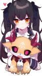 1girl 1other ahoge alternate_color alternate_eye_color alternate_hair_color bangs black_hair blue_ribbon blush bow bowtie claws closed_mouth collared_shirt color_switch debidebi_debiru demon demon_horns eyebrows_visible_through_hair fang hair_between_eyes hair_ribbon hazakura_chikori heart highres holding horns long_hair long_sleeves looking_at_viewer markings nijisanji no_pupils open_mouth red_eyes ribbon school_uniform shirt smile takamiya_rion twintails upper_body virtual_youtuber white_bow yellow_eyes yellow_fur
