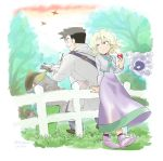 1boy 1girl ball bird book creature creatures_(company) dress fence flying game_freak gastly gen_1_pokemon ghost grass holding holding_ball holding_poke_ball kangaskhan kibisakura kikuko_(pokemon) long_dress nintendo ookido_yukinari outdoors poke_ball pokemon pokemon_(creature) pokemon_special purple_dress shoes spearow standing tree writing younger