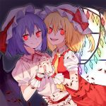 2girls arm_around_waist bat_wings black_wings blonde_hair blue_hair bow closed_mouth crystal fang_out fangs fingernails flandre_scarlet hair_between_eyes hand_holding hat hat_bow hat_ribbon interlocked_fingers long_hair looking_at_viewer mob_cap multiple_girls nail_polish necktie open_mouth pink_skirt puffy_short_sleeves puffy_sleeves purple_shirt red_bow red_eyes red_nails red_ribbon red_skirt red_vest remilia_scarlet ribbon ryuuno6 shirt short_sleeves siblings sisters skirt skirt_set smile touhou vest white_hat window wings wrist_cuffs yellow_neckwear