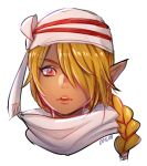 1girl androgynous bandage blonde_hair dark_skin earrings jewelry long_hair looking_at_viewer nintendo onisuu open_mouth pointy_ears red_eyes reverse_trap sheik simple_background solo the_legend_of_zelda the_legend_of_zelda:_ocarina_of_time white_background zelda_musou