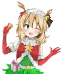 1girl ;d alternate_costume arms_up bare_shoulders bell blonde_hair blush box breasts christmas_tree_costume commentary_request elbow_gloves eyebrows_visible_through_hair fake_antlers fur-trimmed_gloves fur-trimmed_vest fur_collar fur_trim gift gift_box gloves green_eyes hair_bell hair_between_eyes hair_ornament hair_ribbon hairband head_tilt holding idolmaster idolmaster_cinderella_girls kaedekko_(chariesk) leaning_over lolita_hairband looking_at_viewer medium_hair one_eye_closed open_hand open_mouth party_popper red_gloves red_vest ribbon sakurai_momoka simple_background small_breasts smile solo star striped striped_ribbon symbol_commentary upper_body vest white_background