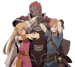 1girl 2boys abs adjusting_hair armor arms_up belt blonde_hair blue_eyes bow_(weapon) bracelet bracer bruise_on_face cape circlet dark_skin dark_skinned_male dirty_clothes dirty_face earrings flexing ganondorf gerudo highres jewelry link mouth_hold multiple_boys nintendo pointy_ears pose princess_zelda redhead redlhzz sheikah_slate shield shirt short_hair standing stretch super_smash_bros. super_smash_bros._ultimate the_legend_of_zelda the_legend_of_zelda:_breath_of_the_wild tiara toned toned_male torn_clothes triforce weapon