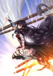 1girl adsouto arm_guards armor armored_boots artist_name bandage bandaged_arm bandages black_hair black_legwear black_shorts boots braid breasts day eyebrows_visible_through_hair highres long_hair looking_at_viewer medium_breasts shorts solo tales_of_(series) tales_of_berseria thigh-highs thigh_strap torn_clothes torn_legwear under_boob velvet_crowe very_long_hair weapon yellow_eyes