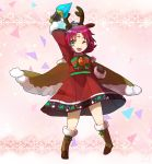 1girl absurdres antlers arm_up bell boots brown_gloves cape dress fa facial_mark fire_emblem fire_emblem:_fuuin_no_tsurugi fire_emblem_heroes forehead_mark full_body fur_trim gloves green_eyes highres long_sleeves mamkute nintendo one_eye_closed open_mouth peppedayo_ne purple_hair reindeer_antlers short_hair snowflakes solo