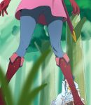 2girls blue_dress blue_hair blue_legwear boots dress forest gloves grass haruyama_kazunori hugtto!_precure kneeling long_hair multiple_girls nature nono_hana panties pantyhose pantyshot pantyshot_(kneeling) precure red_footwear red_gloves standing tree underwear white_panties yakushiji_saaya