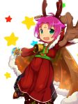 1girl antlers artist_name bell blackma_(pagus0012) brown_gloves cape dress fa facial_mark fire_emblem fire_emblem:_fuuin_no_tsurugi fire_emblem_heroes forehead_mark fur_trim gloves green_eyes highres long_sleeves mamkute nintendo open_mouth outstretched_arm purple_hair reindeer_antlers short_hair simple_background solo star white_background
