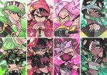 4girls alternate_costume aori_(splatoon) bandana_over_mouth bandanna beanie cephalopod_eyes column_lineup crown gas_mask gloves goggles goggles_on_head green_eyes hat hime_(splatoon) hood hoodie hotaru_(splatoon) iida_(splatoon) looking_at_viewer midriff mole mole_under_eye mole_under_mouth multicolored_hair multiple_girls navel pointy_ears purple_hair short_hair smile splatoon splatoon_(series) splatoon_2 stomach_tattoo sunglasses symbol-shaped_pupils tattoo tentacle_hair two-tone_hair weapon wong_ying_chee yellow_eyes
