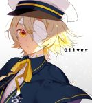 1boy akemaru bandage bandage_over_one_eye blonde_hair blush capelet character_name coat eyebrows_visible_through_hair eyepatch hair_between_eyes hat highres looking_at_viewer male_focus oliver_(vocaloid) open_mouth ribbon sailor_collar sailor_hat shadow shirt signature solo vocaloid yellow_eyes