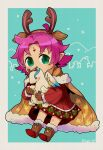 1girl antlers artist_name boots brown_gloves cape character_doll commentary_request dress fa facial_mark fire_emblem fire_emblem:_fuuin_no_tsurugi fire_emblem_heroes flyer_27 forehead_mark fur_trim gloves green_eyes highres long_sleeves nintendo pointy_ears purple_hair reindeer_antlers short_hair solo