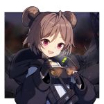 1girl :d bangs black_gloves black_jacket blush braid brown-framed_eyewear brown_hair cleaning_glasses commentary double_bun eyebrows_visible_through_hair girls_frontline gloves hair_between_eyes head_tilt holding holding_eyewear hood hood_down hooded_jacket jacket long_sleeves open_mouth p90_(girls_frontline) partly_fingerless_gloves puffy_long_sleeves puffy_sleeves round_teeth side_braid smile solo sunglasses teeth tp_(kido_94) upper_body upper_teeth violet_eyes