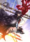 1girl adsouto arm_guards armor armored_boots artist_name black_hair black_legwear black_shorts boots braid breasts claws day eyebrows_visible_through_hair highres long_hair looking_at_viewer medium_breasts shorts solo tales_of_(series) tales_of_berseria thigh-highs thigh_strap torn_clothes torn_legwear under_boob velvet_crowe very_long_hair weapon yellow_eyes