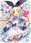 1girl :d akabane_(zebrasmise) apron aqua_eyes bat_wings black_bow black_neckwear black_ribbon blonde_hair blue_dress blush bow commentary_request cowboy_shot dress floating_hair food frilled_dress frills hair_ribbon hairband heart key long_hair looking_at_viewer marshmallow mononobe_alice neck_ribbon nijisanji one_eye_closed open_mouth outstretched_arms outstretched_hand puffy_short_sleeves puffy_sleeves ribbon short_sleeves sidelocks smile solo stuffed_animal stuffed_bunny stuffed_toy tareme virtual_youtuber white_apron wings