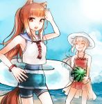 2girls animal_ears blue_sailor_collar blue_sky braid brown_eyes brown_hair closed_eyes collarbone dress floating_hair food fruit halterneck hat holding holo innertube long_hair looking_at_viewer mayumura_basako mother_and_daughter multiple_girls myuri_(spice_and_wolf) open_mouth outdoors pink_dress ponytail sailor_collar shirt short_dress short_shorts shorts silver_hair sky sleeveless sleeveless_dress sleeveless_shirt spice_and_wolf summer sun_hat tail very_long_hair watermelon wetsuit white_hat white_shirt wolf_ears wolf_tail