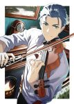 1boy black_hair clock fate/grand_order fate_(series) fireplace green_eyes highres instrument looking_at_viewer male_focus music natsuko_(bluecandy) playing_instrument sherlock_holmes_(fate/grand_order) sleeves_rolled_up solo solo_focus suspenders violin