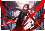 1girl architecture bangs black_dress braid breasts brown_hair choker closed_mouth consort_yu_(fate) drakhend66 dress dual_wielding east_asian_architecture fate/grand_order fate_(series) fire glasses highres holding holding_sword holding_weapon long_hair looking_at_viewer medium_breasts red_eyes single_braid solo standing striped_bodysuit sword very_long_hair weapon