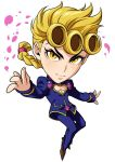 1boy blonde_hair brown_footwear chibi cleavage_cutout closed_mouth commentary_request full_body heart_cutout jacket jojo_no_kimyou_na_bouken kotatsu_(g-rough) long_hair long_sleeves looking_at_viewer male_focus pants ponytail purple_jacket purple_pants shoes smile solo vento_aureo yellow_eyes
