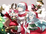 +_+ 1boy 2girls antlers aqua_eyes aqua_hair bell bow brother_and_sister brown_gloves candle cape carrying christmas_tree closed_eyes closed_mouth dress eirika ephraim fa fire_emblem fire_emblem:_fuuin_no_tsurugi fire_emblem:_seima_no_kouseki fire_emblem_heroes fur_trim gloves green_eyes hat long_hair long_sleeves mamkute multiple_girls nintendo nonomori_(anst_nono) open_mouth pointy_ears pom_pom_(clothes) purple_hair red_hat reindeer_antlers santa_costume santa_hat short_hair siblings star