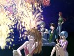 2boys 3girls ayanami_rei black_hair blue_eyes blue_hair blue_hairband blue_pants blue_shirt breasts brown_hair brown_pants cleavage collarbone denim fireworks floating_hair hair_between_eyes hairband hand_in_pocket head_rest ikari_shinji jeans long_hair looking_up makinami_mari_illustrious medium_breasts miniskirt multiple_boys multiple_girls nagisa_kaworu neon_genesis_evangelion night open_clothes open_shirt outdoors pants pink_shirt ponytail rebuild_of_evangelion sakuma shirt short_hair sitting skirt sky sleeveless sleeveless_shirt smile souryuu_asuka_langley star_(sky) starry_sky tied_shirt white_skirt