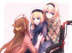 3girls absurdres ahoge artist_name blonde_hair blue_eyes brown_hair casual double_bun hair_between_eyes hairband hat headgear highres jervis_(kantai_collection) kantai_collection kongou_(kantai_collection) long_hair multiple_girls open_mouth pin.s sitting warspite_(kantai_collection) wheelchair white_hat