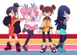 4girls ankle_boots annotated aqua_eyes arms_behind_back bangs black_hair black_legwear blue_eyes blue_hair boots borrowed_character bracelet brown_hair bubble_blowing chengou_hunters chewing_gum china_dress chinese_clothes commentary double_bun dress english_commentary eyebrows_visible_through_hair fang finger_gun flat_chest full_body glasses gloves guangzhou_charge hair_bun hair_ribbon hangzhou_spark hime_cut idol jacket jewelry leggings long_hair multiple_girls ojou-sama_pose orange_eyes orange_legwear overwatch overwatch_league panda pantyhose parted_bangs pink_dress pink_hair red_dress ribbon rye-beer shanghai_dragons shoes short_hair sleeves_past_wrists sneakers socks spiked_bracelet spikes swept_bangs thigh-highs twintails white_gloves wide_sleeves yellow_eyes zettai_ryouiki