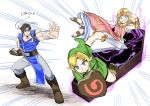 absurdres belt blonde_hair blue_eyes brown_hair castlevania coffin dress gloves gown headband highres link long_hair multiple_boys nintendo pointy_ears portal_(object) princess_zelda richter_belmondo rx_hts short_hair simple_background super_smash_bros. super_smash_bros._ultimate sword the_legend_of_zelda the_legend_of_zelda:_ocarina_of_time translated triforce weapon whip wooden_shield