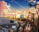 1girl artist_name bangs black_coat black_gloves black_legwear breasts building choker cityscape clouds commentary_request dated double_bun eyewear_on_head girls_frontline gloves hair_ornament highres hood hood_down hooded_coat jacket light_brown_hair looking_at_viewer open_mouth outstretched_arms p90_(girls_frontline) partly_fingerless_gloves power_lines red_eyes sechka short_hair sky smile solo sunglasses sunset thigh-highs thigh_strap tinted_eyewear