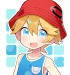 1boy akemaru blonde_hair blue_eyes blue_tank_top blush bucket_hat child creatures_(company) eyebrows eyebrows_visible_through_hair game_freak hair_between_eyes hat highres looking_at_viewer male_focus nintendo open_mouth pokemon pokemon_(game) pokemon_sm pokemon_usum smile solo tank_top you_(pokemon)