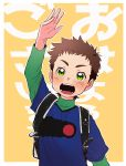 1boy absurdres backpack bag blue_shirt brown_hair commentary_request copyright_request green_eyes green_shirt hand_up highres long_sleeves male_focus open_mouth orange_background shirt short_over_long_sleeves short_sleeves smile solo translation_request upper_body usuki_(usukine1go)