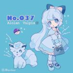 1girl alolan_form alolan_vulpix aqua_background aqua_eyes bag bangs blue_bag blue_bow blue_dress blue_footwear blue_legwear bow character_name creatures_(company) dress english full_body game_freak gloves hair_bow head_tilt highres holding holding_bag light_blue_hair long_hair long_sleeves mameeekueya moemon nintendo one_eye_closed open_mouth personification pink_bow poke_ball pokemon pokemon_(creature) pokemon_number polka_dot polka_dot_legwear shoe_bow shoes simple_background standing twitter_username very_long_hair