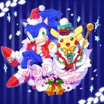 2boys alternate_costume bell blue_eyes bone_(stare) christmas christmas_tree creatures_(company) fur_trim furry game_freak gen_1_pokemon gloves hat looking_at_viewer male_focus merry_christmas multiple_boys nintendo no_humans pokemon pokemon_(creature) red_gloves sack santa_costume santa_hat sega smile sonic sonic_the_hedgehog super_smash_bros. super_smash_bros._ultimate tail