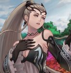 1girl black_choker black_dress black_gloves blue_eyes breasts choker cleavage clouds collarbone commentary day dress earrings eir_(fire_emblem) english_commentary field fire_emblem fire_emblem_heroes flower flower_field gloves grey_hair hair_ornament hair_ribbon hand_on_own_chest headgear jewelry kaejunni long_hair medium_breasts nintendo open_mouth ponytail ribbon sky solo tree very_long_hair