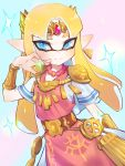 1girl bangs belt blonde_hair blue_eyes bracer company_connection dress earrings hand_up highres inkling jewelry jtveemo light_blush looking_at_viewer necklace nintendo parted_bangs pointy_ears princess_zelda shoulder_armor simple_background smile solo sparkle splatoon_(series) tentacle_hair the_legend_of_zelda tiara triforce