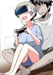 1boy 1girl :d bare_legs barefoot black_hair blue_shirt breasts commentary_request controller faceless faceless_male fang game_controller grey_hair hitotose_rin large_breasts open_mouth sakurai_shinichi shirt short_hair shorts simple_background sitting smile spiky_hair uzaki-chan_wa_asobitai! uzaki_hana vr_visor white_background