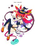 alternate_costume alternate_hairstyle asymmetrical_gloves bracelet chains demon_girl demon_tail demon_wings disgaea earrings etna flat_chest gloves halloween hat hekaton highres jewelry long_hair moon_(ornament) pointy_ears red_eyes redhead smile stuffed_toy tail thigh-highs wings witch_hat