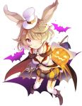 1girl animal_ears bat belt boots breasts brown_footwear character_request cleavage closed_mouth commentary_request dragalia_lost garter_straps hair_over_one_eye hat highres jack-o'-lantern kneehighs light_brown_hair long_sleeves looking_at_viewer medium_breasts mini_hat navel one_eye_covered puffy_shorts rabbit_ears shorts sibyl smile solo top_hat violet_eyes white_hat white_legwear witch_hat
