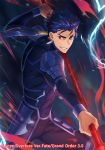 1boy armor blue_hair copyright_name cu_chulainn_(fate/grand_order) dark_background earrings electricity fate/grand_order fate_(series) fighting_stance grin holding_polearm jewelry lancer looking_at_viewer male_focus official_art polearm ponytail red_eyes smile solo spiky_hair standing watermark weapon