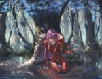 1girl absurdres arm_support bangs bodysuit breasts bug butterfly closed_mouth darling_in_the_franxx forest green_eyes hand_up highres horns in_water insect long_hair medium_breasts nature oni_horns pilot_suit pink_hair red_bodysuit red_horns seiza sitting skin_tight solo song_ren straight_hair traditional_media water watercolor_pencil_(medium) zero_two_(darling_in_the_franxx)