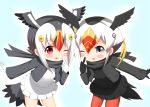 2girls ;p atlantic_puffin_(kemono_friends) bangs bird_tail black_gloves black_hair black_jacket black_scarf black_shirt black_skirt black_wings blonde_hair blush commentary_request eyebrows_visible_through_hair feathered_wings frilled_skirt frills gloves grey_eyes grey_wings hair_between_eyes hand_up head_wings index_finger_raised jacket kemono_friends leaning_forward long_sleeves multicolored_hair multiple_girls one_eye_closed open_clothes open_jacket pantyhose red_eyes red_legwear redhead scarf shin01571 shirt sidelocks skirt smile standing sweater_vest tongue tongue_out tufted_puffin_(kemono_friends) two-tone_hair white_gloves white_hair white_shirt white_skirt wings